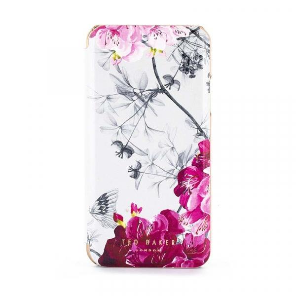 Αναδιπλούμενη θήκη Babylon της Ted Baker για iPhone XR με εσωτερικό καθρέφτη και λευκό φλοράλ print