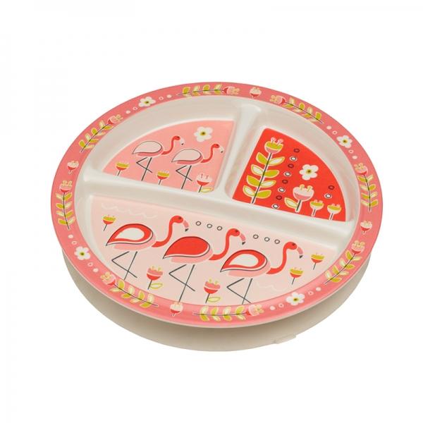 Παιδικό πιατάκι με τρία χωρίσματα από τη σειρά Flamingo της Sugarbooger