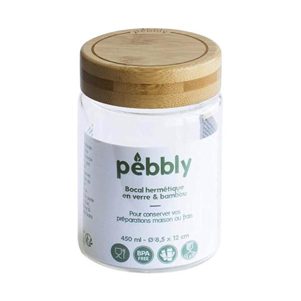 Δοχείο φαγητού από βοριοπυριτικό γυαλί και μπαμπού καπάκι της Pebbly